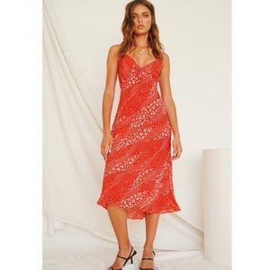 Verge Girl When In Rome Midi Red Floral Dress